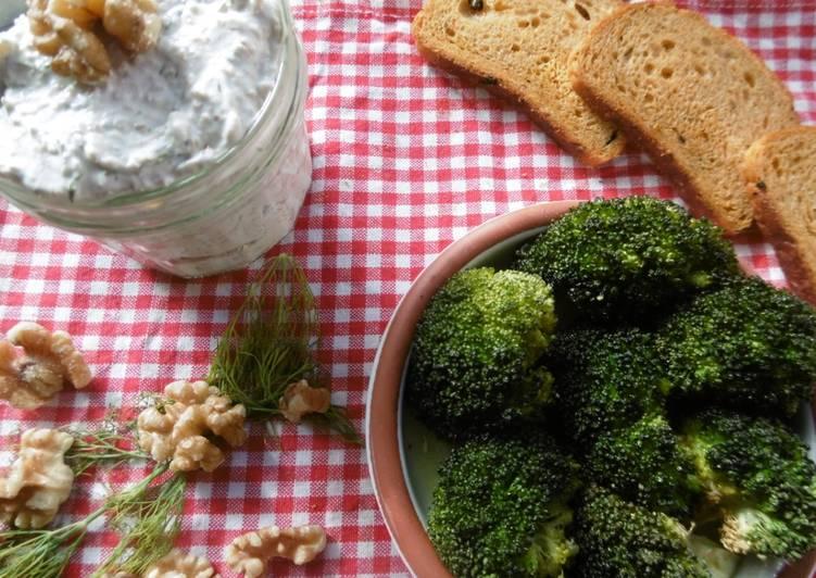 Roasted broccoli with a side order of greek yogurt dip