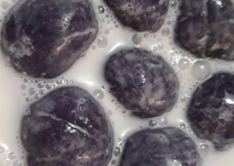 Resep Klepon ubi ungu kuah santan