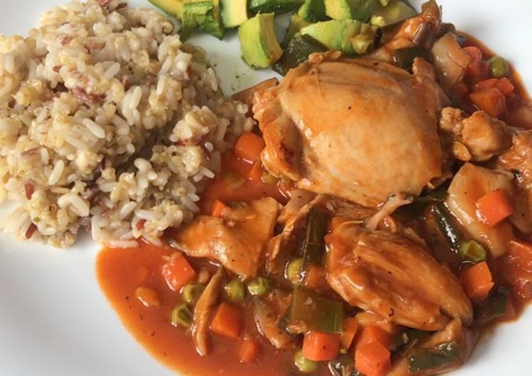 Pollo con setas y verdurita