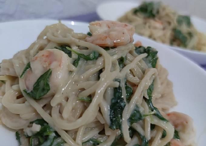 Pasta Carbonara Spinach Prawn Tanpa Susu