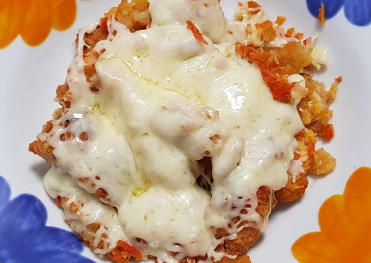 Ayam geprek mozarella praktis untuk pemula