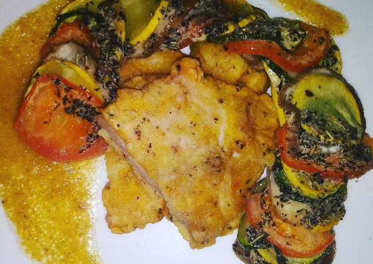 Ratatouille con chuleta empanada en vinagreta