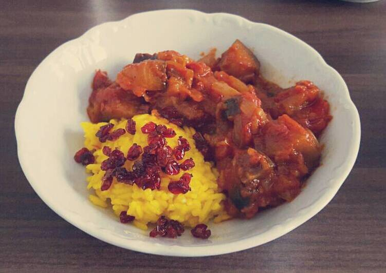 Aubergine Sauce with Saffron Rice
