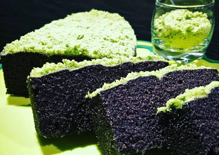 Brownies Ketan Hitam Kukus Topping Green Pea Powder