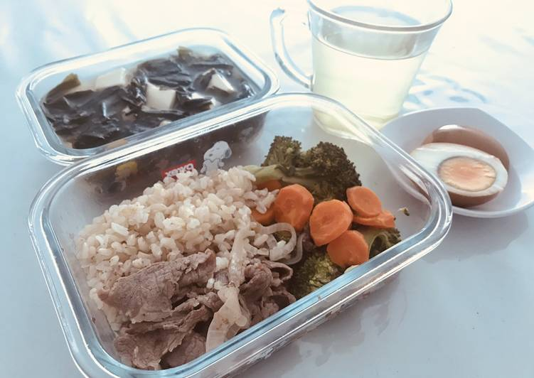 Beef vege bento and miso soup