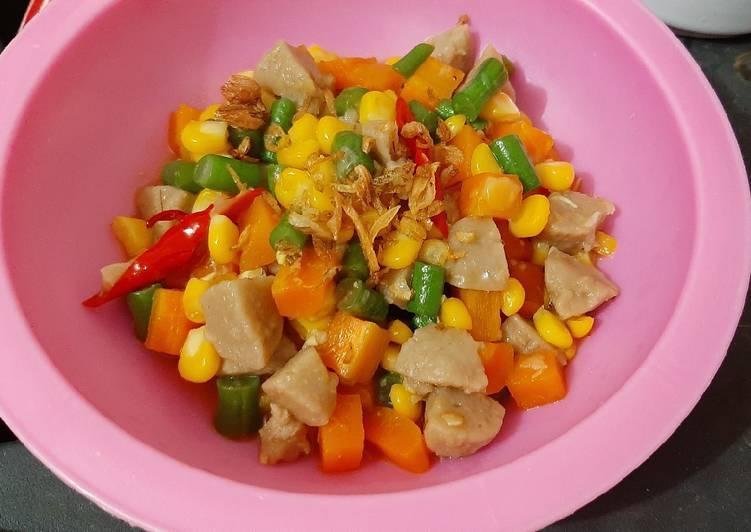 Tumis ceria (bakso,wortel,buncis,jagung)