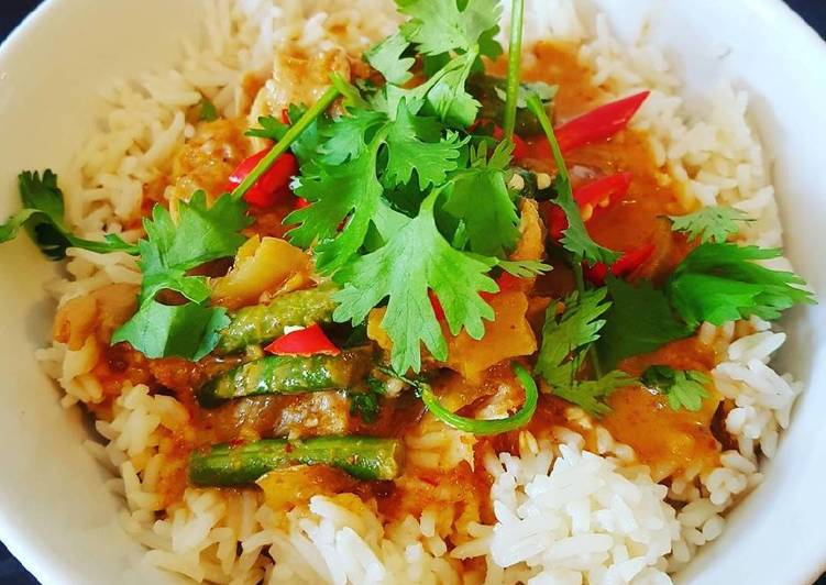 Thai red chicken curry #helpfulcook Finding Healthful Fast Food