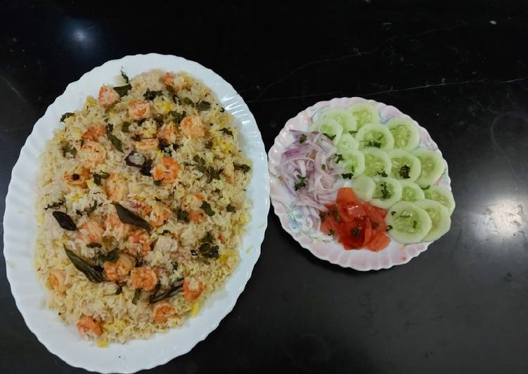 Prawns pulao simply and tasty