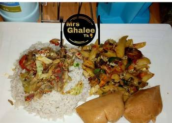 How to Make Yummy White rice with saucesultan chips and moimoi