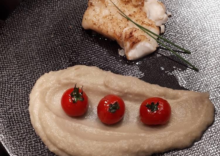 Les Meilleures Recettes de Dos de cabillaud, purée d'artichaut et tomates cerises au miel