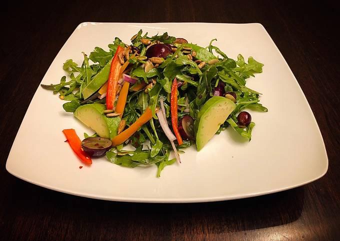 Easy Healthy Arugula Avocado Salad with Lemony Dressing