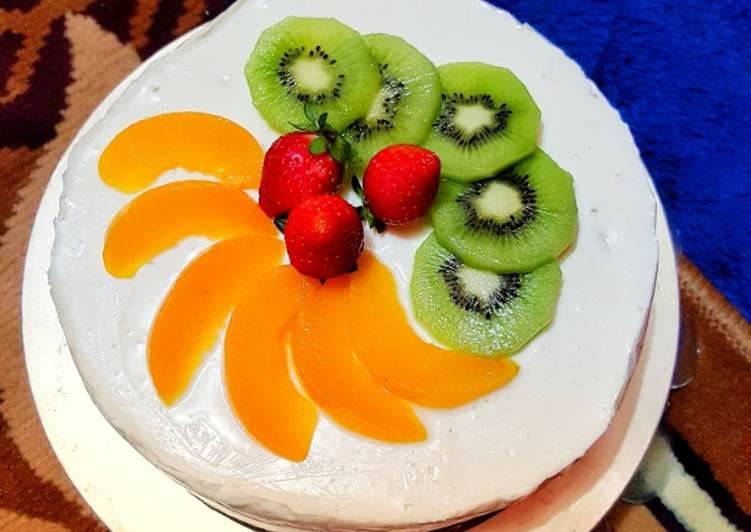 Kek Keju dengan Buah-Buahan Tanpa Bakar