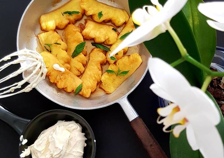 Easiest Way to Make Most Popular Spicy grilled Pineapple with Coconut Cream