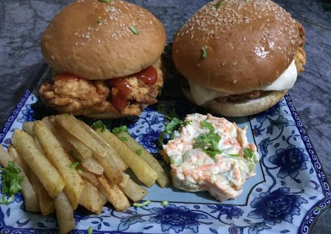 Zinger burger with mayo salad and French fries