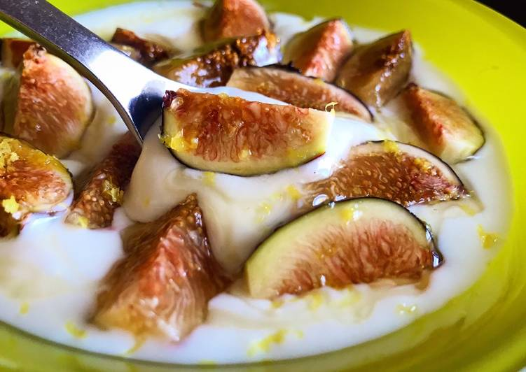Yogurt with Fresh Figs, Honey & Lemon Zest