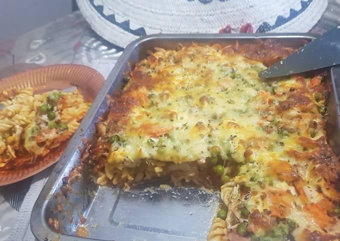 Cheese layered pasta bake