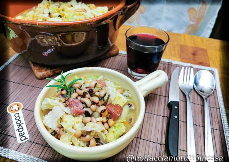 Zuppa di Verze e Fagioli con l'Occhio cotta nel coccio – Ricetta Contadina –