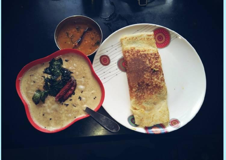Masala Dosa with coconut chutney & sambhar