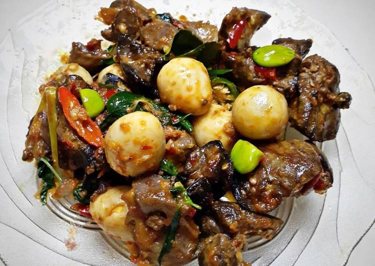 Resep Oseng ati ampela telur puyuh pete kemangi pedas yang Bikin Ngiler