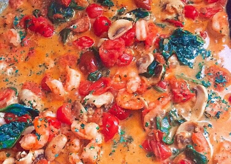 Spaghettis sauce crevettes et Boursin