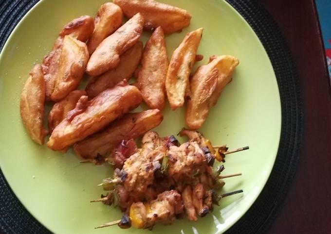 Steps to Prepare Favorite Chicken mshikaki and potatoes
