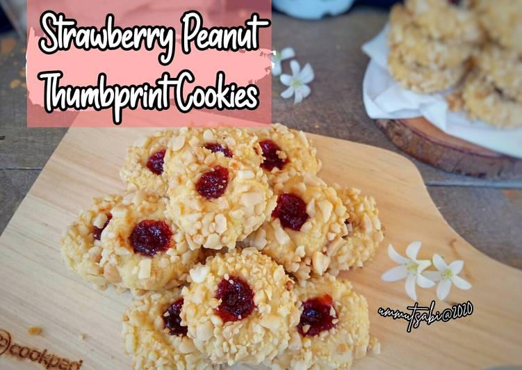 🌸Strawberry Peanut Thumbprint Cookies