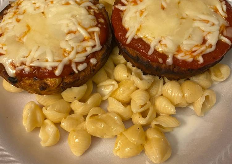 Veggie parmesan over mac & cheese