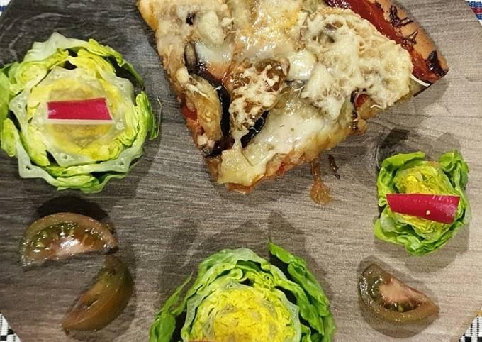 Pizza champignons / aubergines
