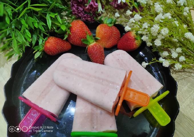 Strawberry Banana Milk Popsicles