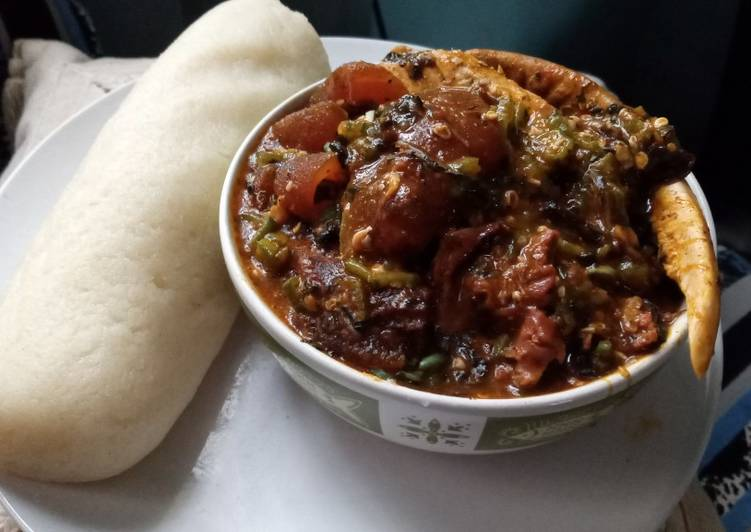 15 Minute Recipe of Ultimate Ogbonno, okra and Bitter leaf soup