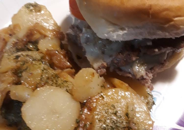 Smashedcheeseburger and German Fried Potatoes