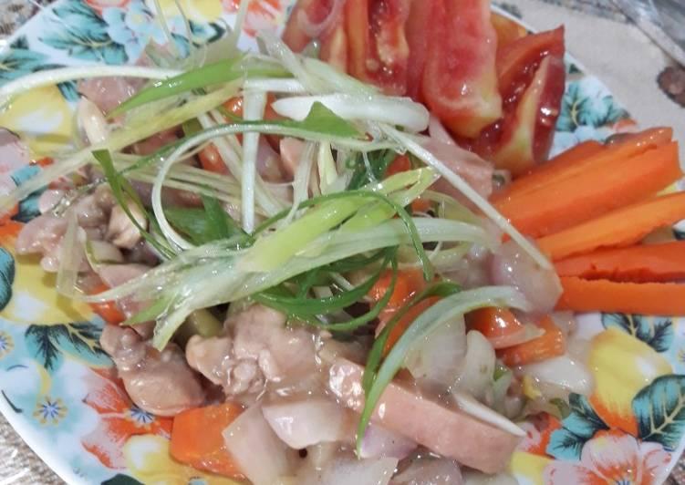 Ayam & canned pork saos inggris