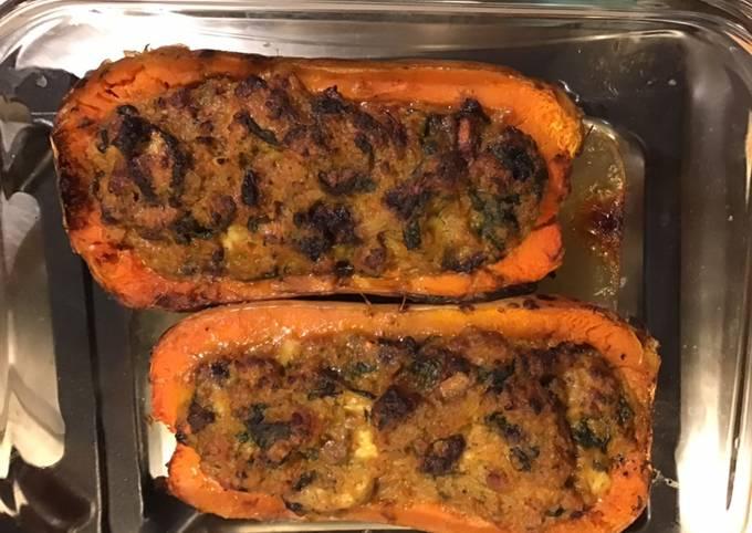 Courge butternut farcie porc épinards carotte violette et mozzarella di buffala