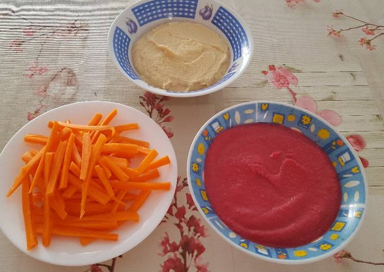 Hummus normal y con remolacha