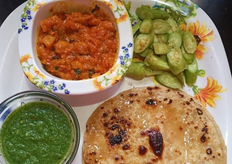 Mushroom masala with parantha