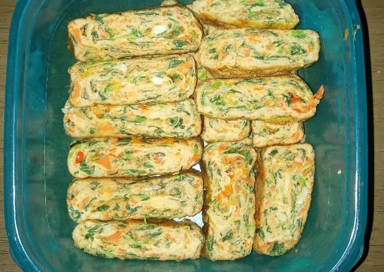 Resep Omelet telur bayam wortel ala jepang Paling Gampang