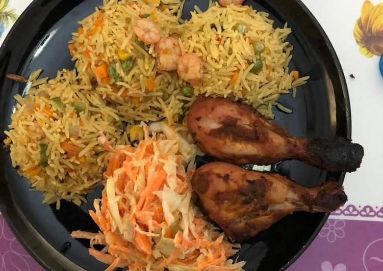 25 Minute Easiest Way to Make Vegan Basmati rice,coleslawband grilled chicken