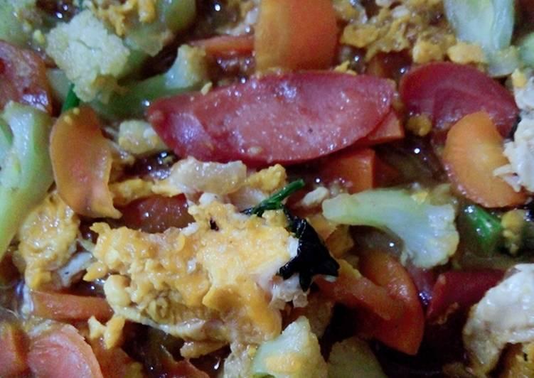 Cah sayur, sosis dan telor untuk balita 20bln