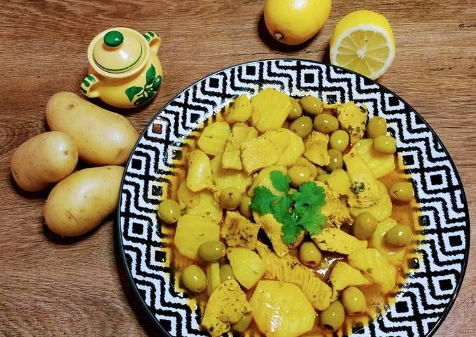 Tajine poulet olives pommes de terres et citron