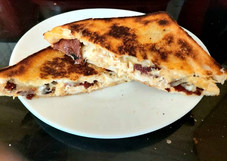 My Toasted Chicken, Streaky Bacon and cheese Grilled Sandwich