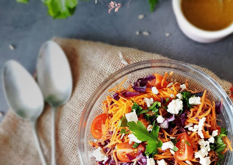 Salade chou rouge carottes et feta