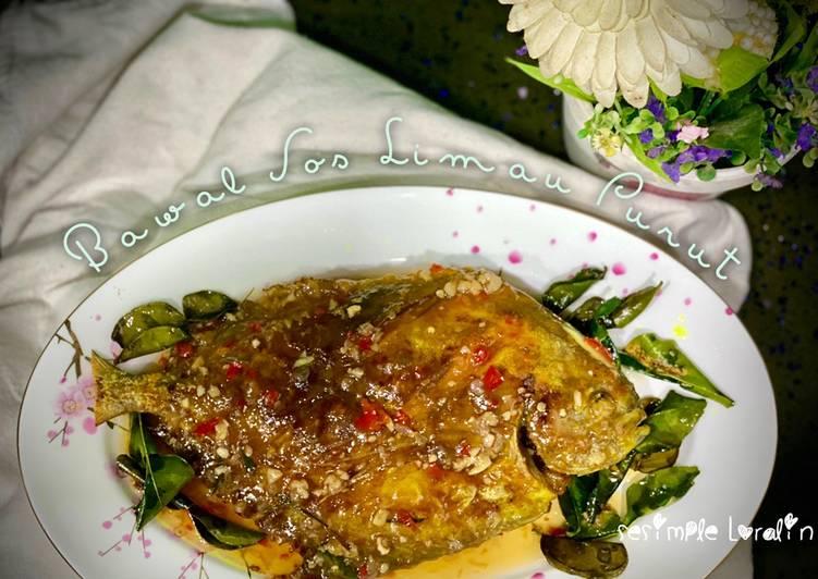 Ikan Bawal dalam Sos Daun Limau Purut Thai (Masam Manis)