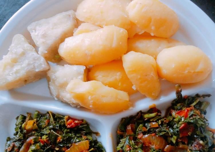 Bolied Irish/Sweet potatoes with veggies