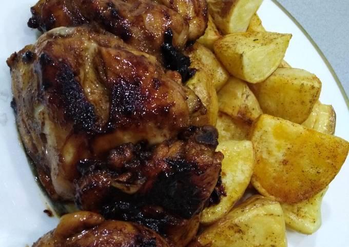 Glazed chicken and potatoes recipe main photo