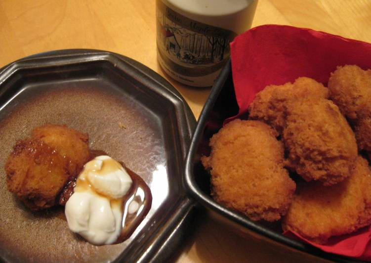 Deep Fried Scones with Maple Syrup and Yogurt