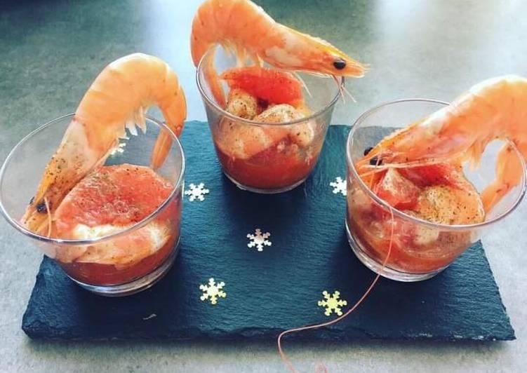 (Chalenge) Verrine de crevettes et pamplemousse