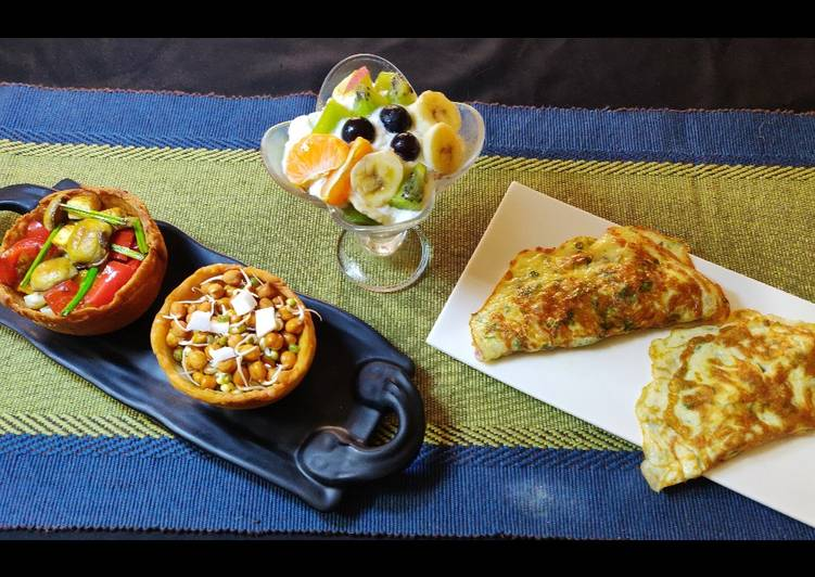 15 Minute Step-by-Step Guide to Prepare Special Oats fruits, sprouts, roasted veggies,cheese omelette