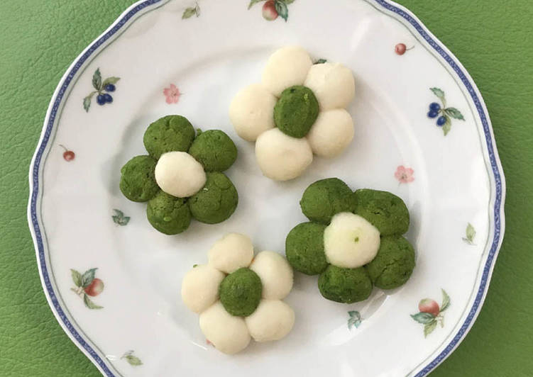 Recipe of Homemade Soft cookie-like Wagashi with white bean jam & rice flour