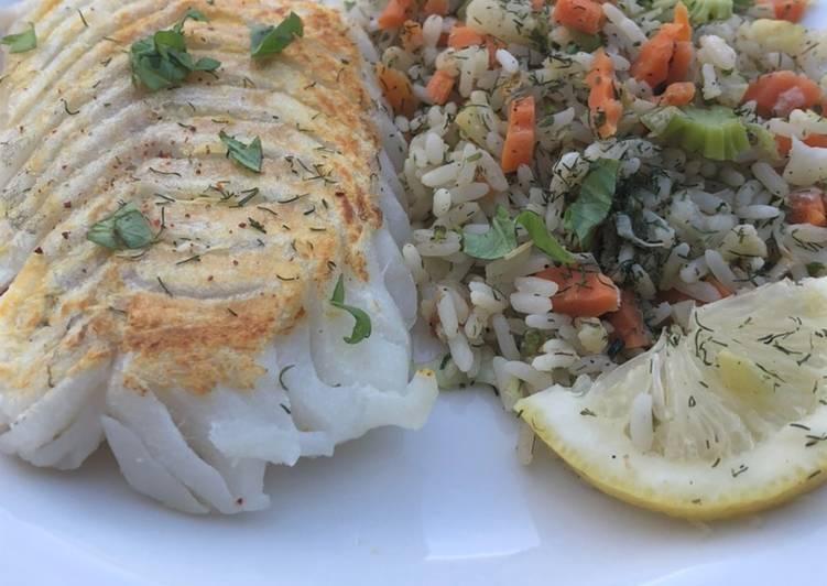 Top 11 Meilleures Recettes de Poisson blanc riz complet au légumes sauce citronnée