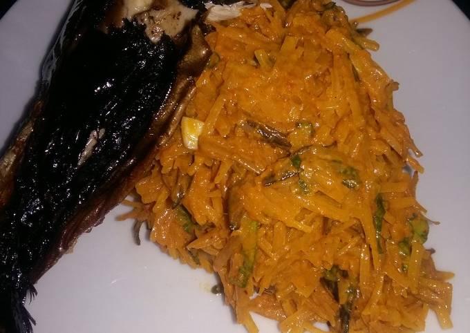 African Salad AKA Abacha with Smoked Fish